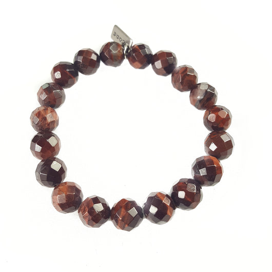 10mm Faceted Grade A Red Tiger's Eye - 7.5