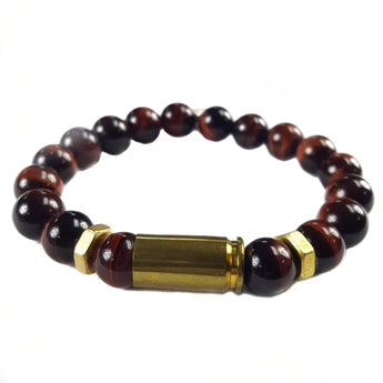 10mm Grade A Red Tiger's Eye Bullet Brass Accents - 7.5
