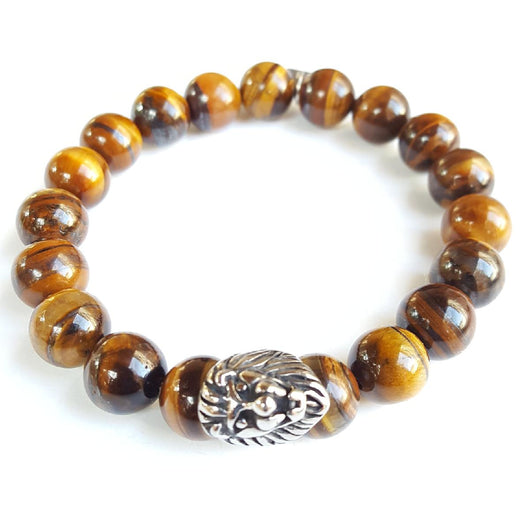 10mm Grade A Tiger's Eye Sterling Silver Lion Head - 7.5