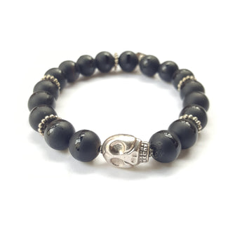 10mm Matte Black Onyx Sterling Silver Skull - 7.5