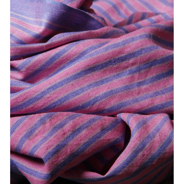 Indian Artizans - Pink with Blue Stripes Silk Dupattas - rang