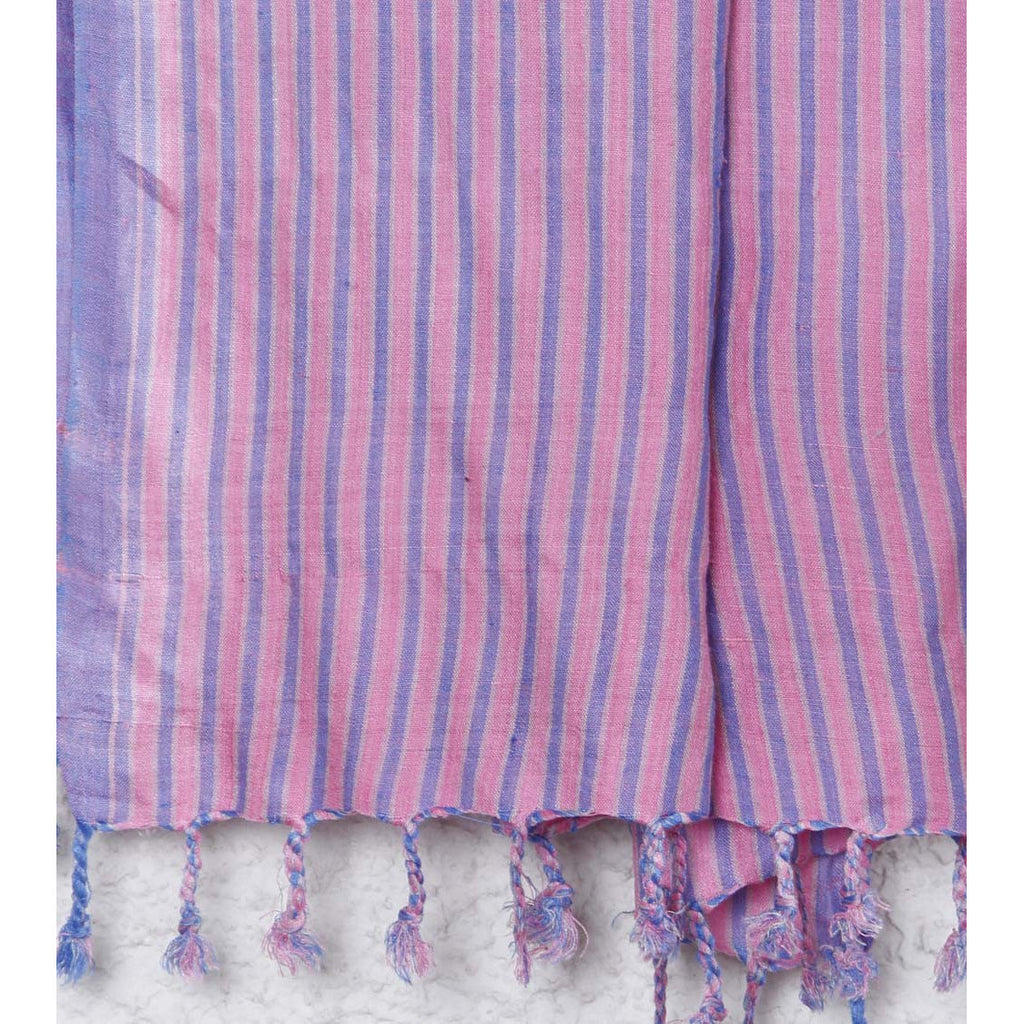 Indian Artizans - Pink with Blue Stripes Silk Dupattas