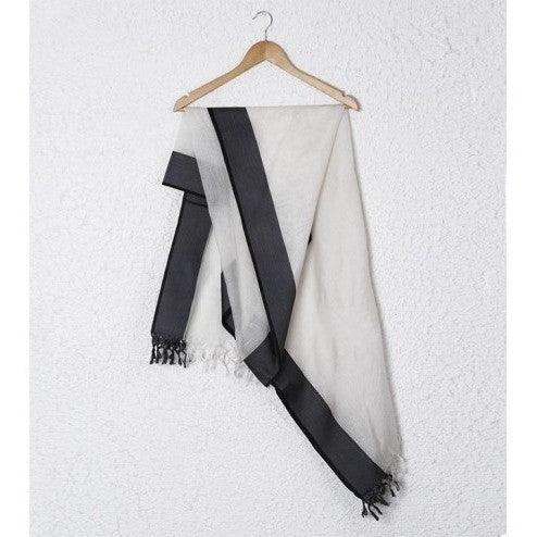 White & Black Cotton Silk Dupatta