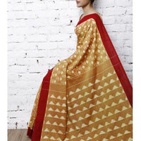 Yellow & Red Handwoven Ikat Cotton Saree - rang