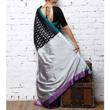 Black & Grey Handwoven Ikat Silk Saree - rang
