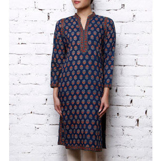 Darzi - Blue Cotton Printed Kurta