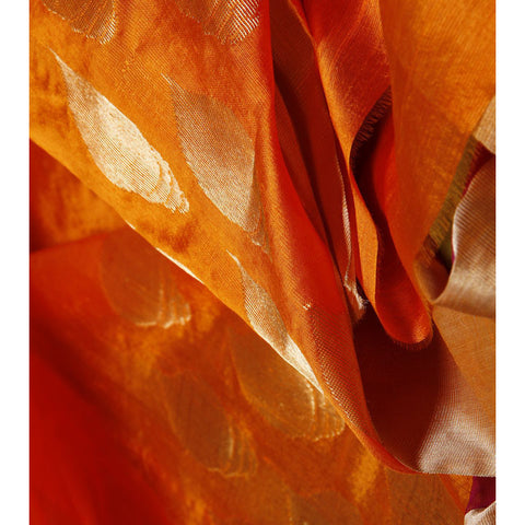 Orange Silk Chanderi Saree with Zari Work