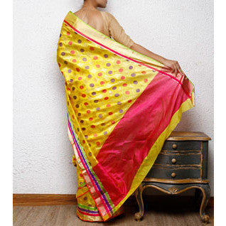 Yellow Silk Chanderi Saree with Zari Work - rang