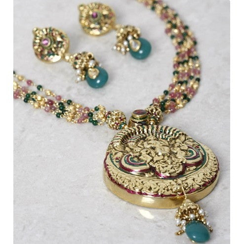 Multicoloured Gold Plated Embellished Necklace Set (100000061497)