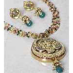 Multicoloured Gold Plated Embellished Necklace Set (100000061497) - rang