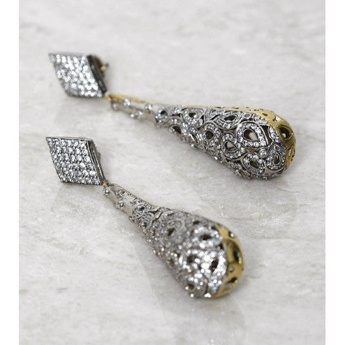 Silver Gold Plated Zircon Embellished Earrings