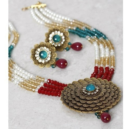 Multicoloured Gold Plated Embellished Necklace Set (100000061512) - rang