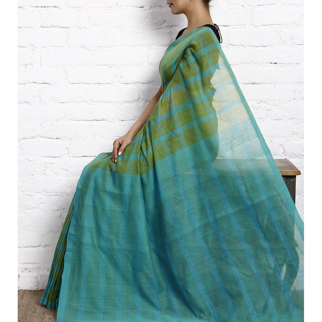 Blue & Green Chequered Mangalgiri Cotton Saree