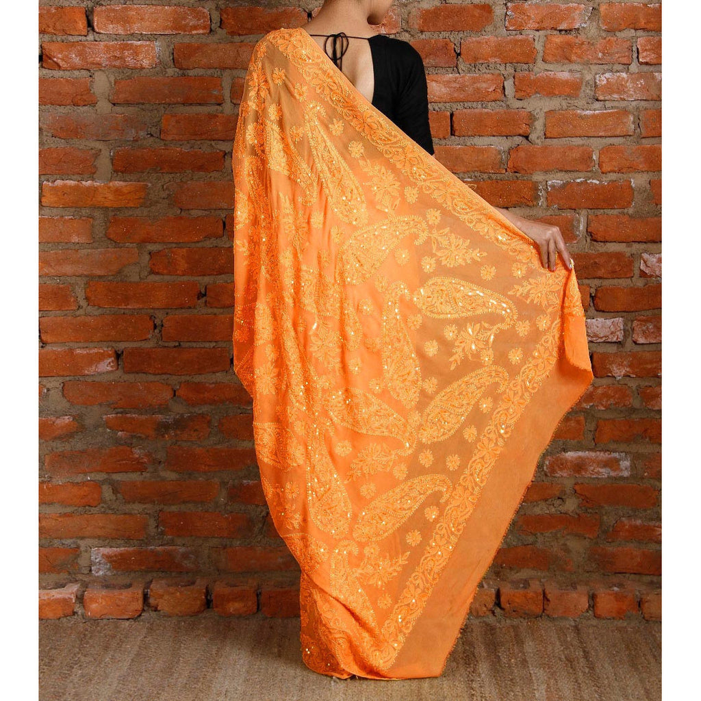 Yellow Georgette Saree with Chikankari