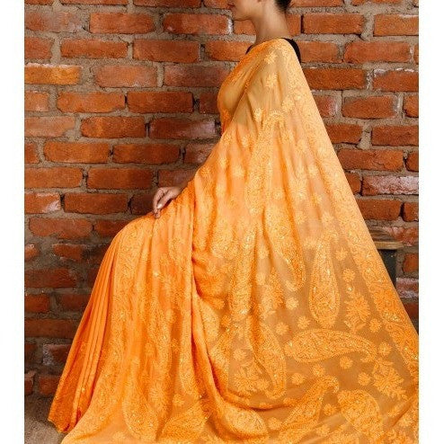 Yellow Georgette Saree with Chikankari - rang