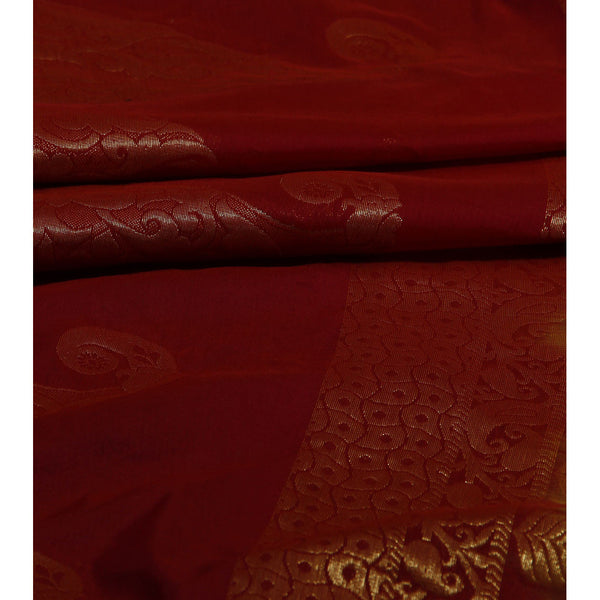 Copper Brown Cotton Silk Saree with Zari Work - rang