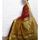 Brown Cotton Silk Saree with Zari Work - rang