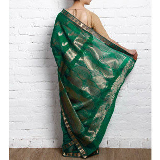 Sea Green Kora Cotton Saree with Zari Work