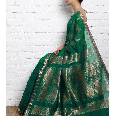 Sea Green Kora Cotton Saree with Zari Work - rang
