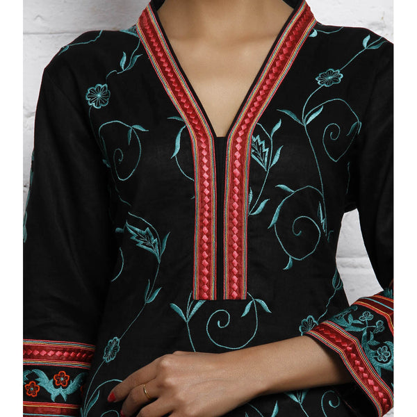 Vedanta - Black Embroidered Matka Silk Cotton Kurta