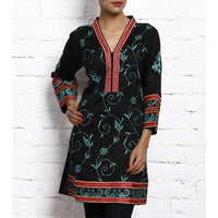 Black Embroidered Matka Silk Cotton Kurta - rang