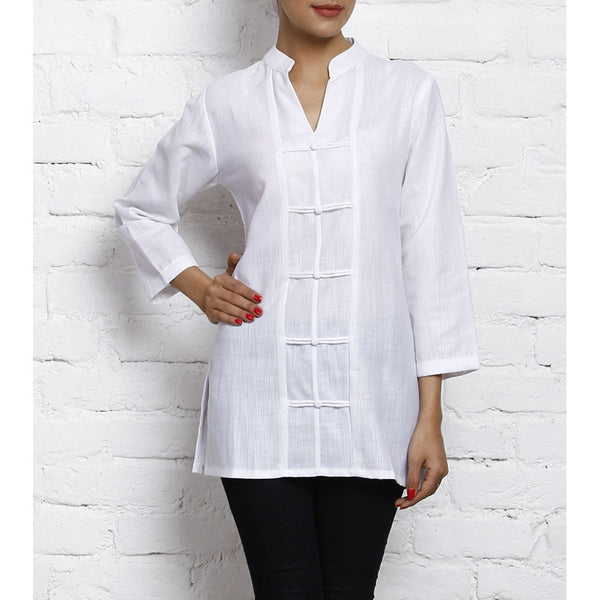 White Matka Silk Cotton Kurti - rang