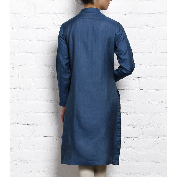 Vedanta - Blue Tussar Silk Cotton Kurta