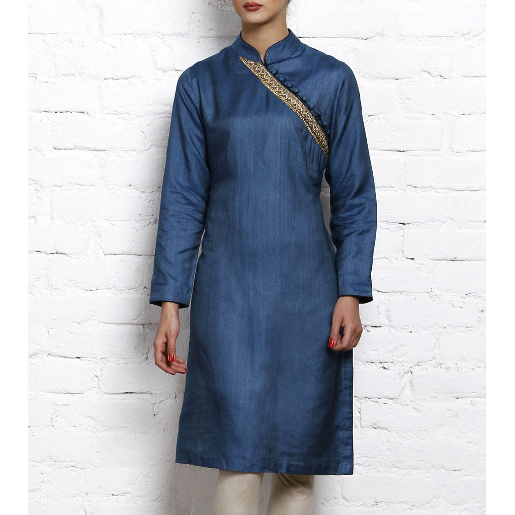 Blue Tussar Silk Cotton Kurta (100000061689) - rang