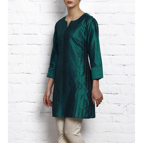 Blue Silk Kurta with Stitch Details - rang