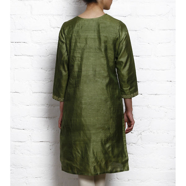 Green Tussar Silk Kurta with Golden Motifs