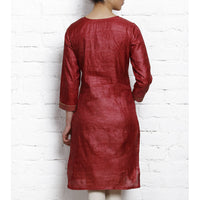 Maroon Tussar Silk Kurta with Golden Embroidery - rang