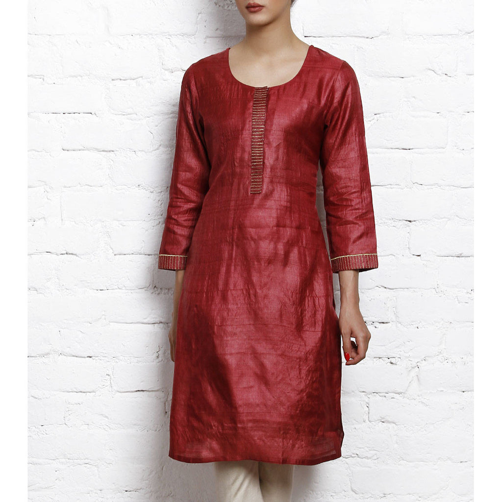 Maroon Tussar Silk Kurta with Golden Embroidery