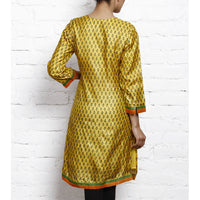 Yellow Printed Tussar Silk Kurta