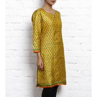 Yellow Printed Tussar Silk Kurta - rang