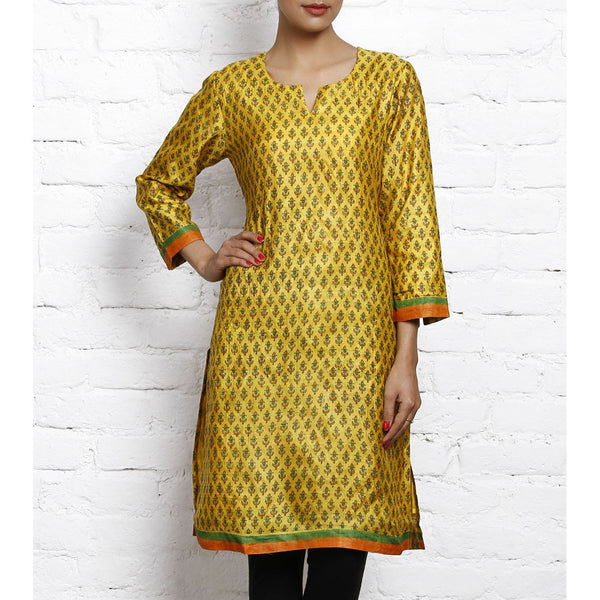 Yellow Printed Tussar Silk Kurta - #Rang