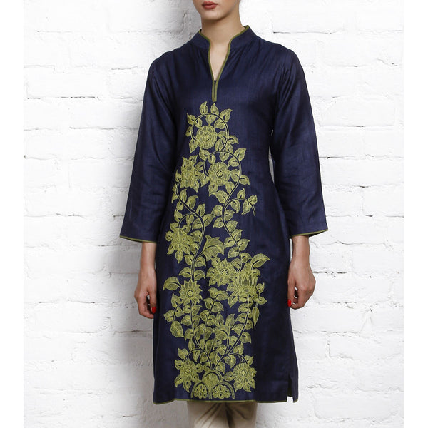 Blue Tussar Silk Cotton Kurta - rang