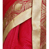 Dark Pink Cotton Supernet Saree (100000032795) - rang