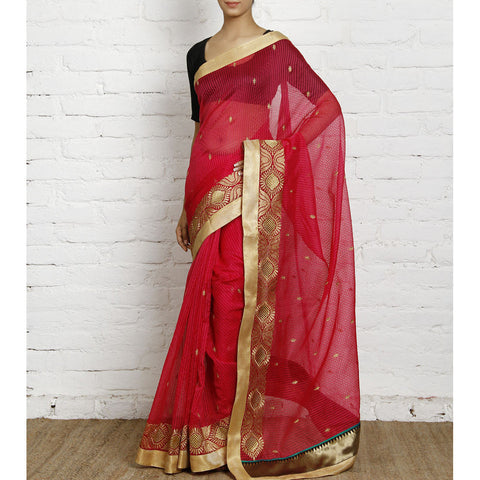 Dark Pink Cotton Supernet Saree (100000032795)