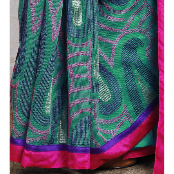 Green Cotton Supernet Saree - rang
