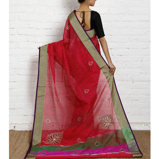 Dark Pink Cotton Supernet Saree (100000032804)
