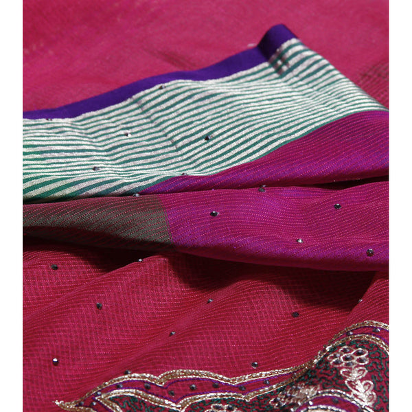 Dark Pink Cotton Supernet Saree (100000032804) - rang