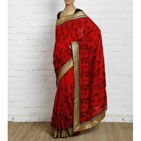 Red Bhagalpuri Silk Saree