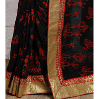Black Bhagalpuri Silk Saree - rang
