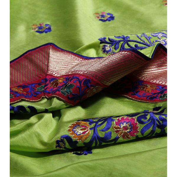 Neon Green Dupion Silk Saree - rang