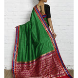 Green Silk Saree with Zari Work
