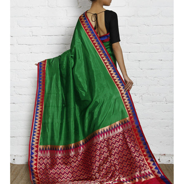 Green Silk Saree with Zari Work - rang