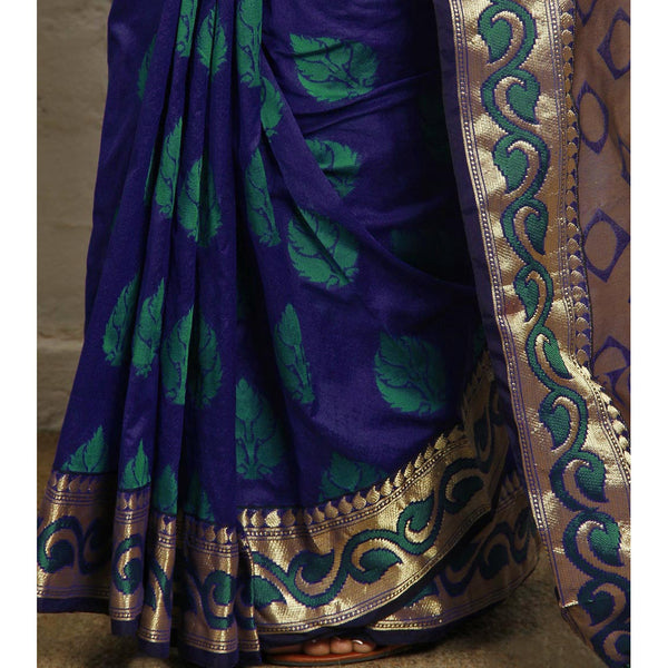 Navy Blue Art Silk Saree with Zari Work - rang
