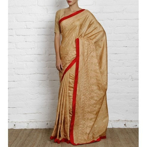 Golden Silk Saree with Embroidery - rang