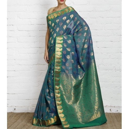 Peacock Green Uppada Silk Saree with Zari Work