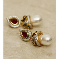 Pearl Drop Gold Plated Earrings (100000061523) - rang